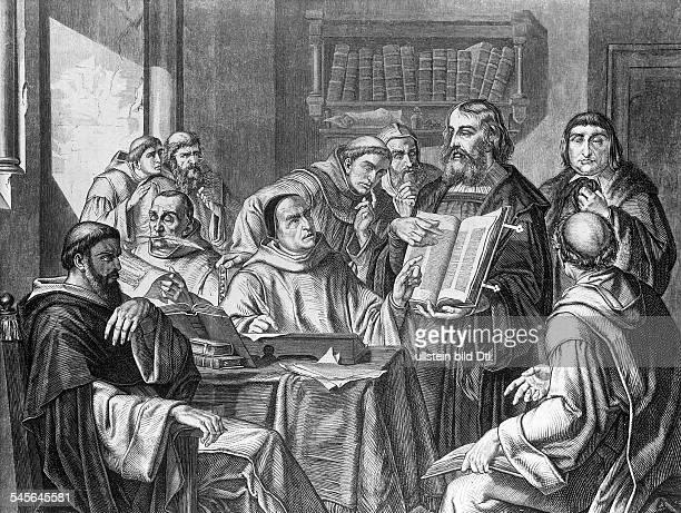 um 1394/99 1468Erfinder der Buchdruckkunst präsentiert Kirchenvertretern seinegedruckt BibelStich ad 19Jh