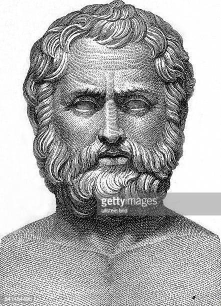 um 625540 vChr Staatsmann Richter aus Priene Griechenland Hermenbildnis gefunden im Landhaus des Cassius zu TiburZeichnung um 1900