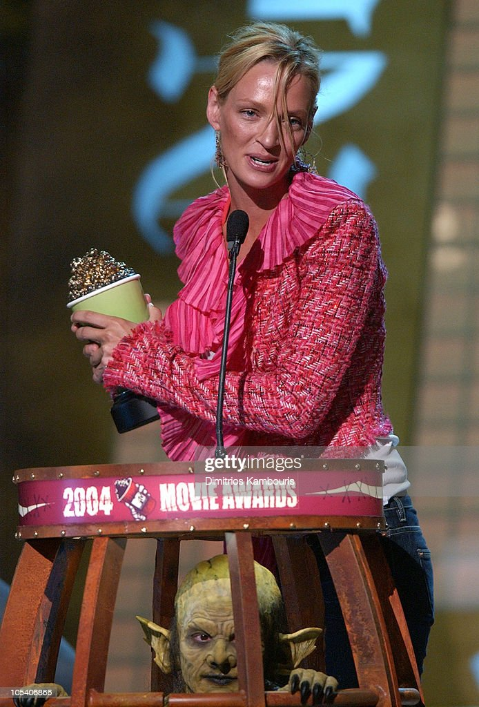 Uma Thurman accepts the award for Best Female Performance for her role in 'Kill Bill Vol. 1'