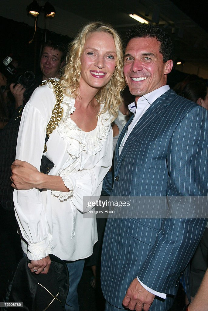 Uma Thurman and Andre Balazs at the Olympus Fashion Week Spring 2006 - Marc Jacobs - Front Row and Backstage at N.Y. State Armory in New York City, New York.