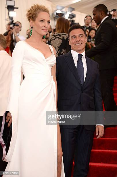"""Uma Thurman and Andre Balazs attend the """"China: Through The Looking Glass"""" Costume Institute Benefit Gala at Metropolitan Museum of Art on May 4,..."""