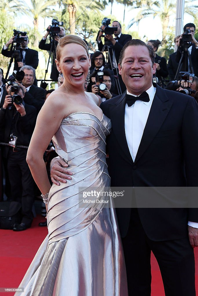 Uma Thurman and Arpad Busson attends the 'Zulu' Premiere and Closing Ceremony during the 66th Annual Cannes Film Festival at the Palais des Festival on May 26, 2013 in Cannes, France.