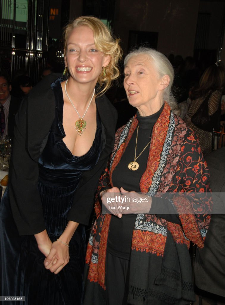 Uma Thurman and Dr. Jane Goodall during 2007 Wings WorldQuest Woman of Discovery Presentation at Cipriani in New York City, New York, United States.