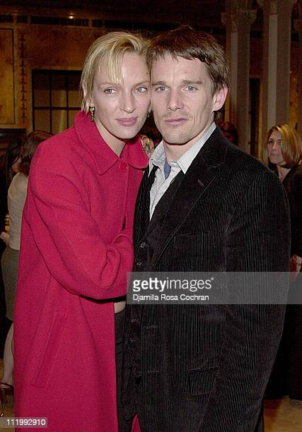 Uma Thurman and Ethan Hawke during The Young Lions Fiction Award at The New York Public Library in New York City New York United States