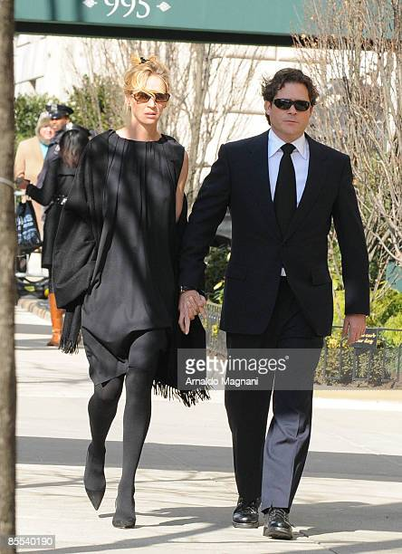 Uma Thurman and fiance Arpad Busson leave a wake for Natasha Richardson at the American Irish Historical Society March 20 2009 in New York City...