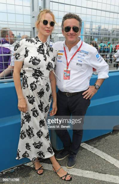 Uma Thurman and Formula E CEO Alejandro Agag attend the Formula E 2018 Qatar Airways New York City EPrix the double header season finale of the...