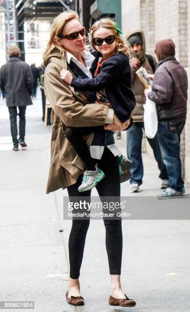Uma Thurman and her daughter Luna ThurmanBusson are seen on December 29 2017 in New York City