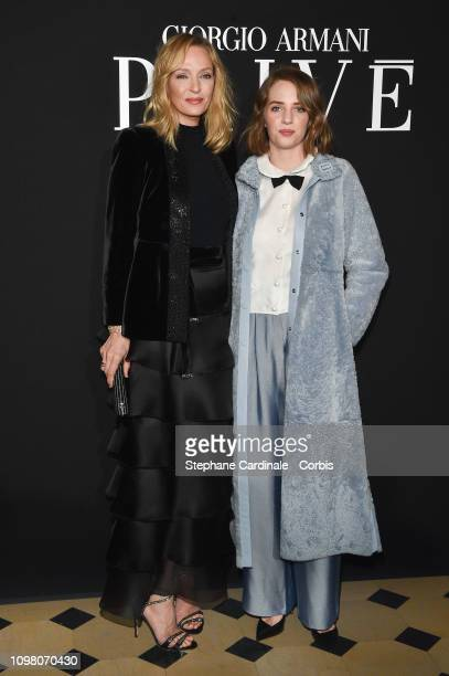 Uma Thurman and her daughter Maya Hawke attend the Giorgio Armani Prive Haute Couture Spring Summer 2019 show as part of Paris Fashion Week on...