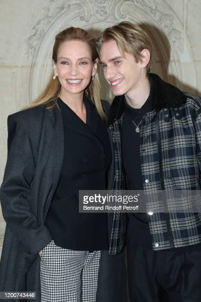 Uma Thurman and her son Levon Roan ThurmanHawke attend the Dior Haute Couture Spring/Summer 2020 show as part of Paris Fashion Week on January 20...