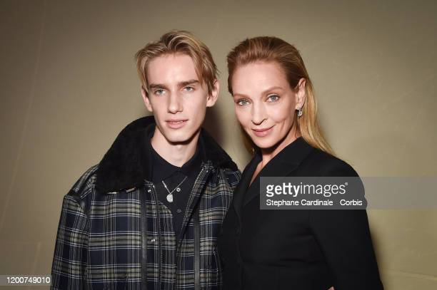 Uma Thurman and her son Levon Roan Thurman-Hawke attend the Dior Haute Couture Spring/Summer 2020 show as part of Paris Fashion Week on January 20,...