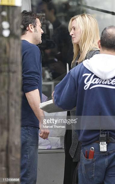 Uma THurman and Jeffrey Dean Morgan during Uma Thurman Sighting on the Set of 'The Accidental Husband' in New York City November 15 2006 in New York...