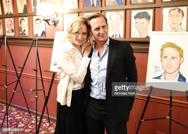 "Uma Thurman and Josh Lucas from the cast of ""Parisian Woman"" are honored With Sardi's Portrait at Sardi's on February 28, 2018 in New York City."