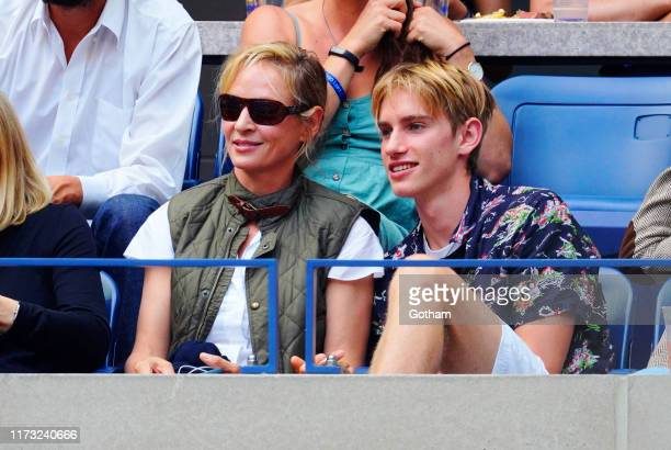 Uma Thurman and Levon Hawke attend the 2019 US Open Final on September 08 2019 in New York City