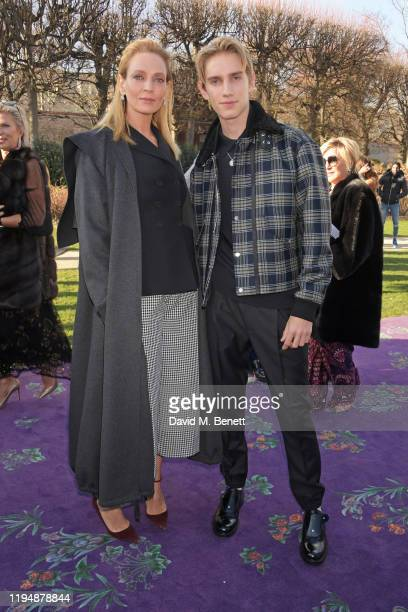 Uma Thurman and Levon Hawke attend the Dior Haute Couture Spring/Summer 2020 show as part of Paris Fashion Week at Musee Rodin on January 20, 2020 in...