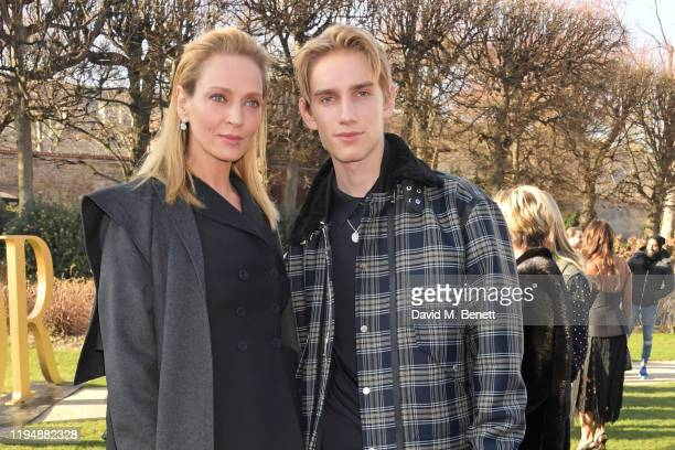 Uma Thurman and Levon Hawke attend the Dior Haute Couture Spring/Summer 2020 show as part of Paris Fashion Week at Musee Rodin on January 20 2020 in...
