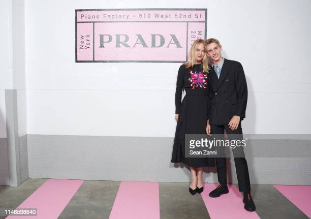 Uma Thurman and Levon Roan ThurmanHawke attend the Prada Resort 2020 fashion show at Prada Headquarters on May 02 2019 in New York City