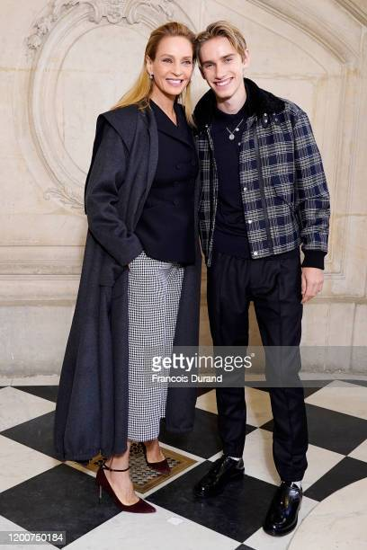 Uma Thurman and Levon Thurman Hawke attend the Dior Haute Couture Spring/Summer 2020 show as part of Paris Fashion Week on January 20, 2020 in Paris,...