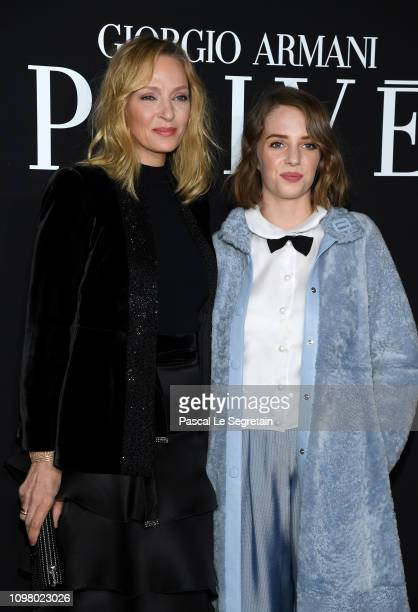 Uma Thurman and Maya Hawke attend the Giorgio Armani Prive Haute Couture Spring Summer 2019 show as part of Paris Fashion Week on January 22 2019 in...