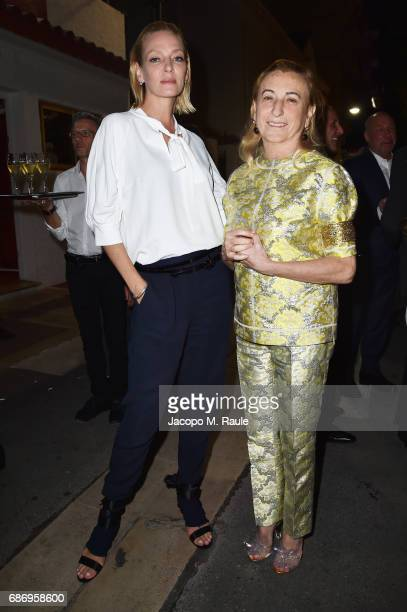 Uma Thurman and Miuccia Prada attend Fondazione Prada Private Dinner during the 70th annual Cannes Film Festival at Restaurant Fred L'Ecailler on May...