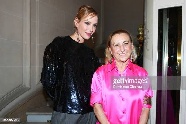 Uma Thurman and Miuccia Prada attend Miu Miu 2019 Cruise Collection Party at Hotel Regina on June 30 2018 in Paris France
