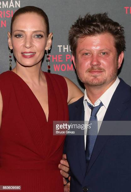 Uma Thurman and Playwright Beau Willimon pose at The Opening Night Party for 'The Parisian Woman' on Broadway at Sardis on November 30 2017 in New...