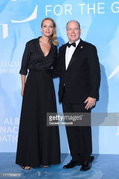 Uma Thurman and Prince Albert II of Monaco attend the Gala for the Global Ocean hosted by H.S.H. Prince Albert II of Monaco at Opera of Monte-Carlo...