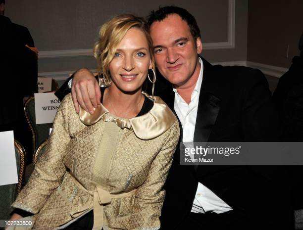 Uma Thurman and Quentin Tarantino attend the Friars Club roast of Quentin Tarantino at the New York Hilton and Towers on December 1 2010 in New York...