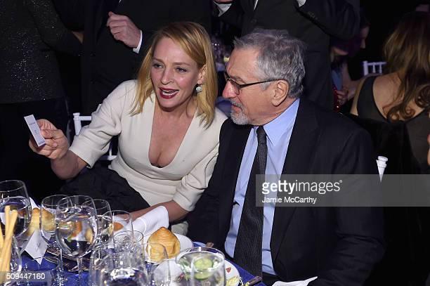 Uma Thurman and Robert De Niro attend the 2016 amfAR New York Gala at Cipriani Wall Street on February 10 2016 in New York City