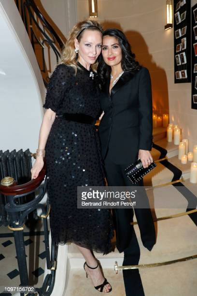 Uma Thurman and Salma Hayek attend the Boucheron Cocktail Party at Place Vendome on January 20 2019 in Paris France