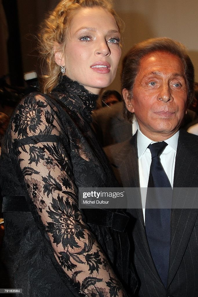 Uma Thurman and Valentino attend the Valentino Fashion show, during Paris Fashion Week (Haute Couture) Spring-Summer 2008 on January 23, 2008 at Musee Rodin in Paris, France.