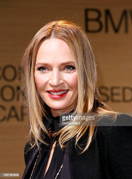 Uma Thurman appears to unveil the BMW i8 Concept Roadster at 1095 Avenue Of The Americas on November 12 2012 in New York City