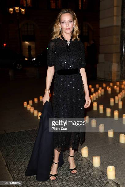 Uma Thurman arrives at a Boucheron Cocktail Party at the Boucheron Store Place Vendome on January 20 2019 in Paris France