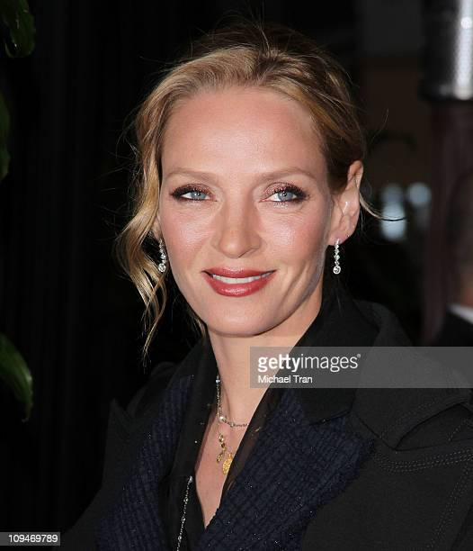 Uma Thurman arrives at a preOscar dinner with Charles Finch hosted by Chanel held at Madeo Restaurant on February 26 2011 in Los Angeles California