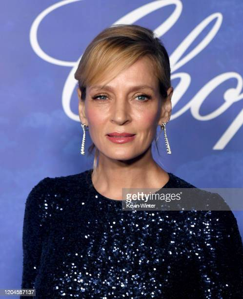Uma Thurman arrives at the 2020 Hollywood For The Global Ocean Gala Honoring HSH Prince Albert II Of Monaco at Palazzo di Amore on February 06 2020...