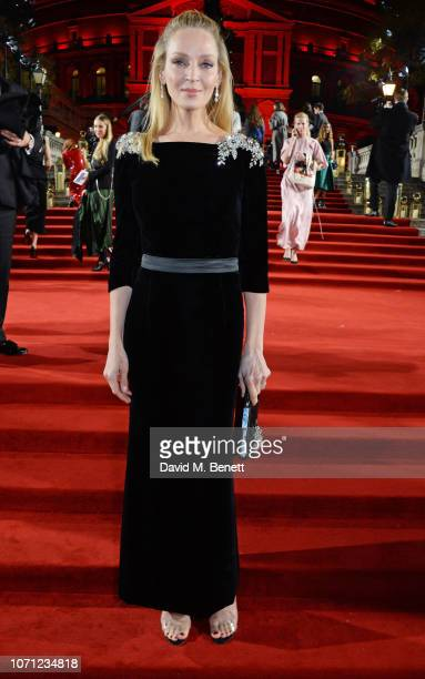 Uma Thurman arrives at The Fashion Awards 2018 in partnership with Swarovski at the Royal Albert Hall on December 10 2018 in London England