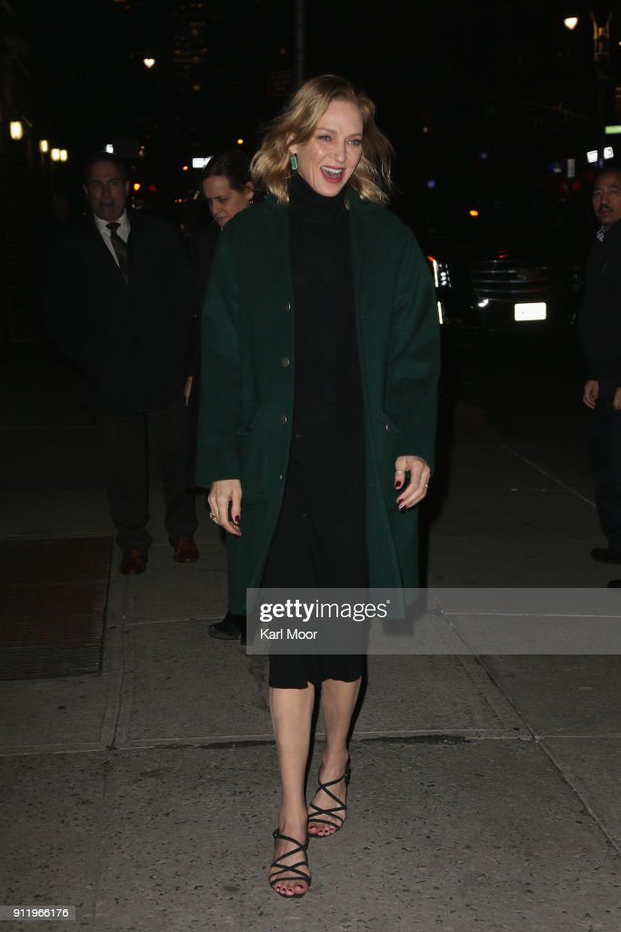 Uma Thurman arrives for her taping of 'The Late Show With Stephen Colbert' at Ed Sullivan Theater on January 29, 2018 in New York City.