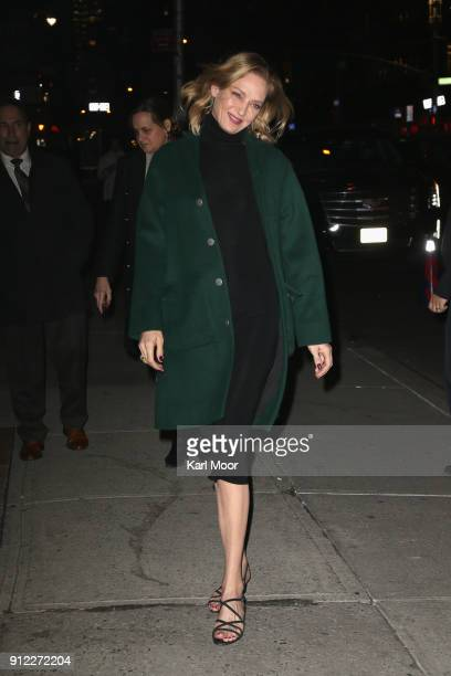 Uma Thurman arrives for her taping of 'The Late Show With Stephen Colbert' at Ed Sullivan Theater on January 29 2018 in New York City