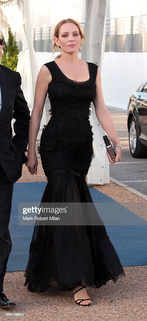 Uma Thurman arriving at the yacht Oasis during the 66th Annual Cannes Film Festival on May 24, 2013 in Cannes, France.