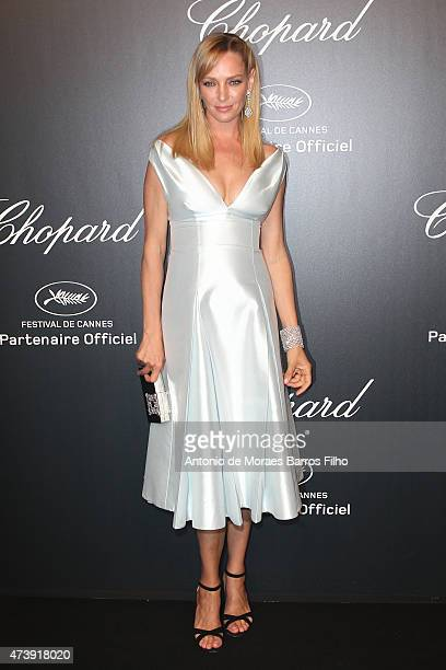Uma Thurman attends a celebrity party during the 68th annual Cannes Film Festival on May 18 2015 in Cannes France