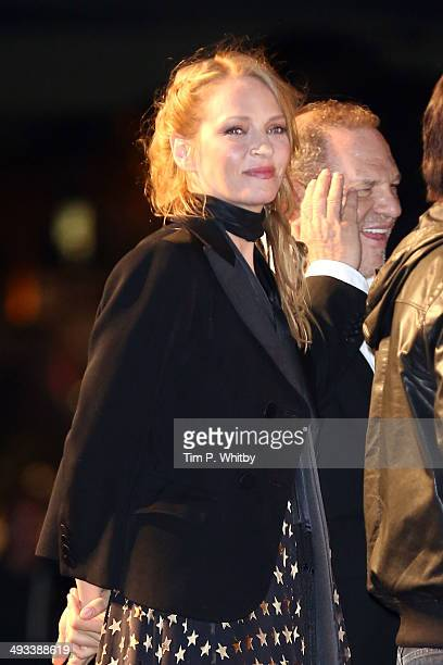 Uma Thurman attends a screening of Pulp Fiction at the 67th Annual Cannes Film Festival on May 23 2014 in Cannes France