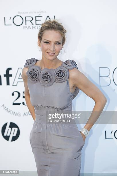 Uma Thurman attends amfAR's Cinema Against AIDS Gala during the 64th Annual Cannes Film Festival at Hotel Du Cap on May 19 2011 in Antibes France