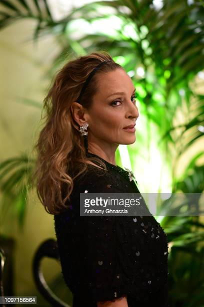Uma Thurman attends Boucheron cocktail party at Place Vendome on January 20 2019 in Paris France