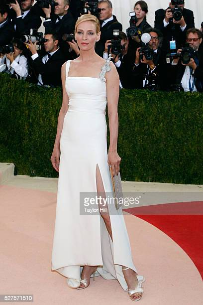 Uma Thurman attends Manus x Machina Fashion in an Age of Technology the 2016 Costume Institute Gala at the Metropolitan Museum of Art on May 02 2016...