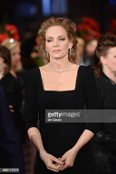 Uma Thurman attends 'Nymphomaniac Volume I ' premiere during 64th Berlinale International Film Festival at Berlinale Palast on February 9 2014 in...