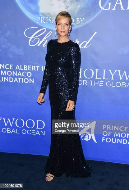 Uma Thurman attends the 2020 Hollywood For The Global Ocean Gala Honoring HSH Prince Albert II Of Monaco at Palazzo di Amore on February 06, 2020 in...