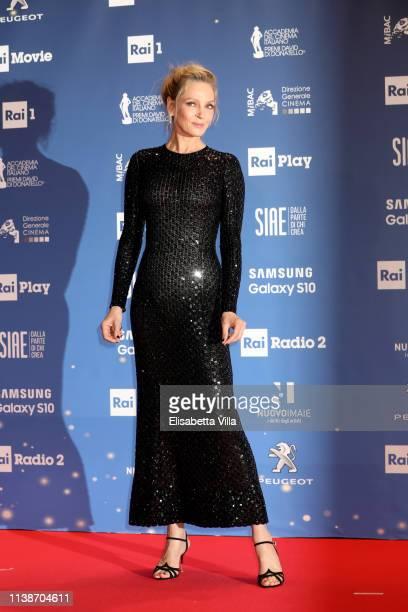 Uma Thurman attends the 64. David Di Donatello awards on March 27, 2019 in Rome, Italy.