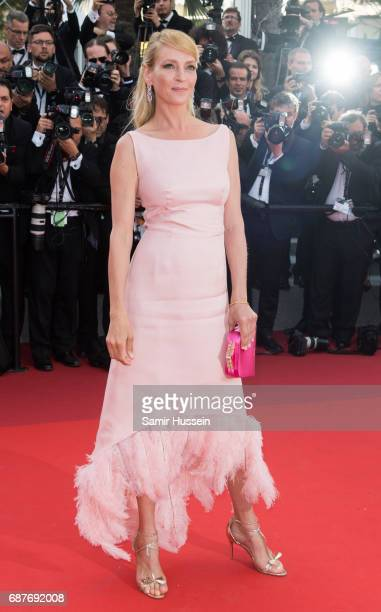 Uma Thurman attends the 70th Anniversary screening during the 70th annual Cannes Film Festival at Palais des Festivals on May 23 2017 in Cannes France