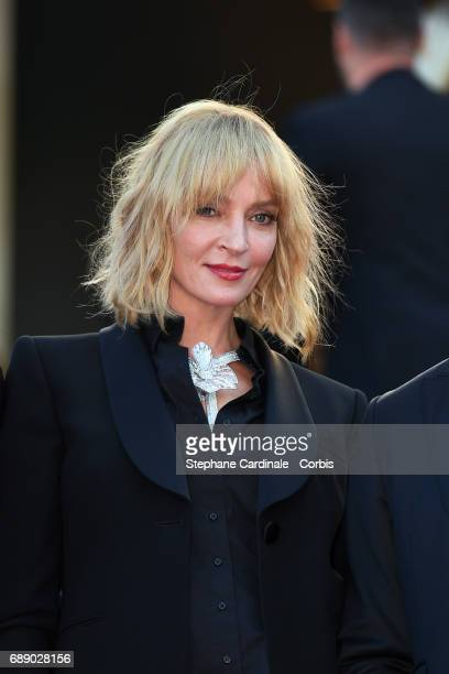 Uma Thurman attends the 'Based On A True Story' premiere during the 70th annual Cannes Film Festival at Palais des Festivals on May 27 2017 in Cannes...