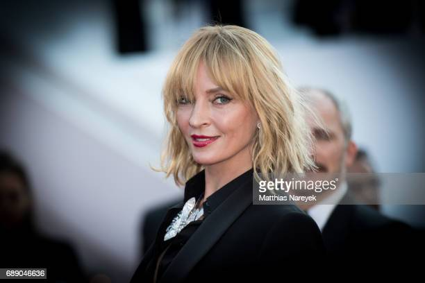 Uma Thurman attends the Based On A True Story screening during the 70th annual Cannes Film Festival at Palais des Festivals on May 27 2017 in Cannes...