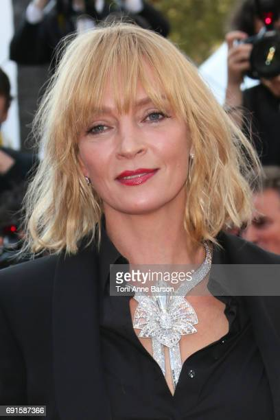 """Uma Thurman attends the """"Based On A True Story"""" screening during the 70th annual Cannes Film Festival at Palais des Festivals on May 27, 2017 in..."""